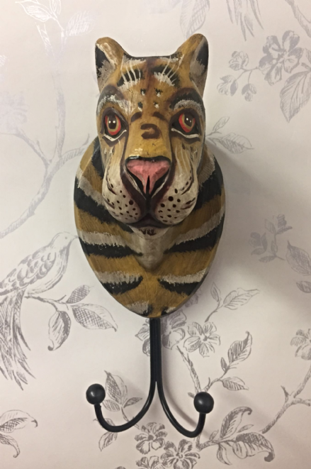 Hand Painted Wooden & Metal Animal Wall Coat Hooks - Tiger Hook